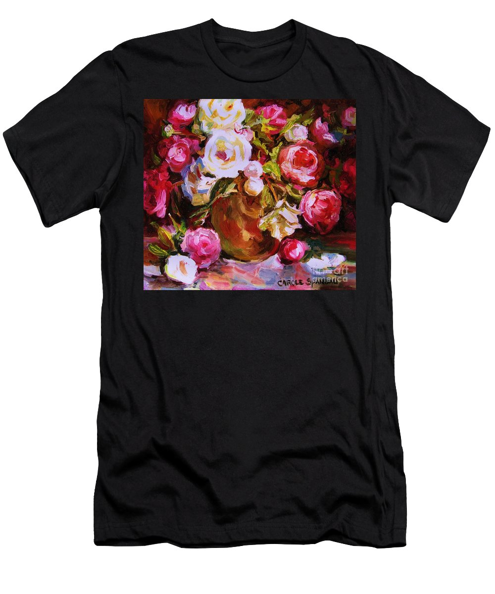 Roses Men's T-Shirt (Athletic Fit) featuring the painting Beautiful Bouquet by Carole Spandau