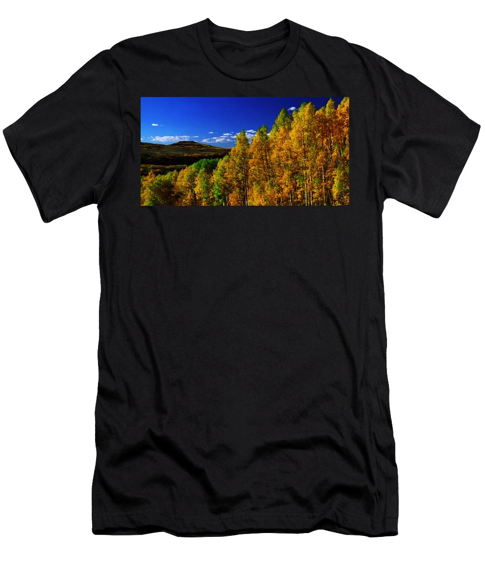 Mountain Men's T-Shirt (Athletic Fit) featuring the mixed media Beautiful Fall Season Nature Renews Itself Theme Green Trees Mountain N Sky View  Save The Environ by Navin Joshi