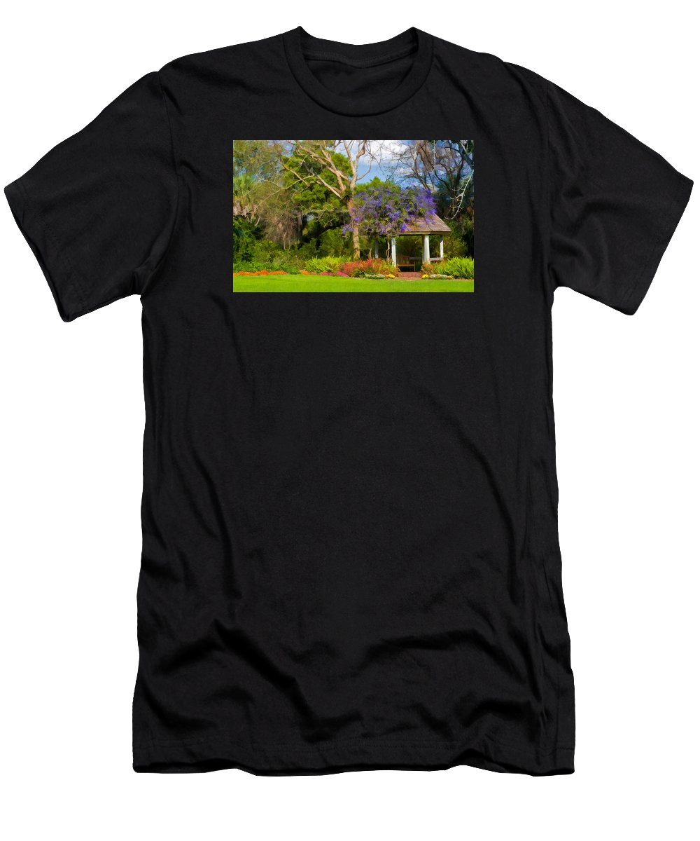 Garden Gazebo Men's T-Shirt (Athletic Fit) featuring the photograph Beautiful Garden Gazebo In Selby Gardens by Ginger Wakem