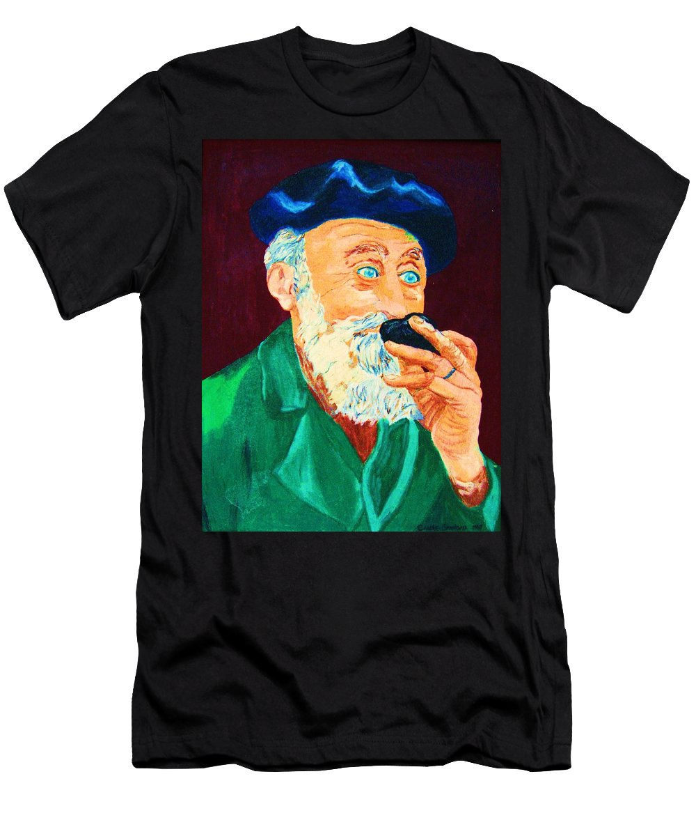 Portraits Men's T-Shirt (Athletic Fit) featuring the painting Beautiful Old Blue Eyes by Carole Spandau