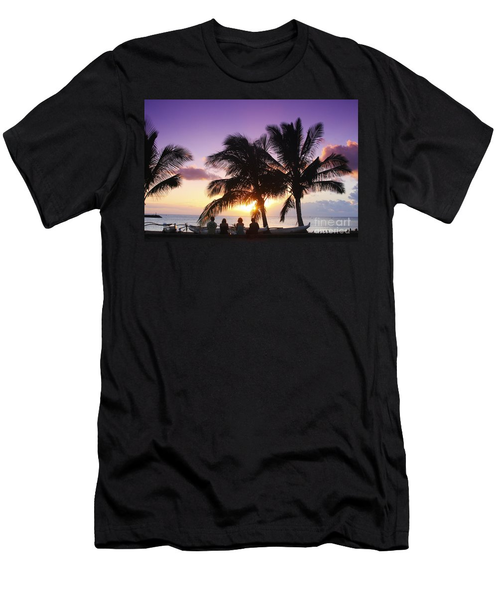 Beach Men's T-Shirt (Athletic Fit) featuring the photograph Beautiful Purple Sunset by Vince Cavataio - Printscapes