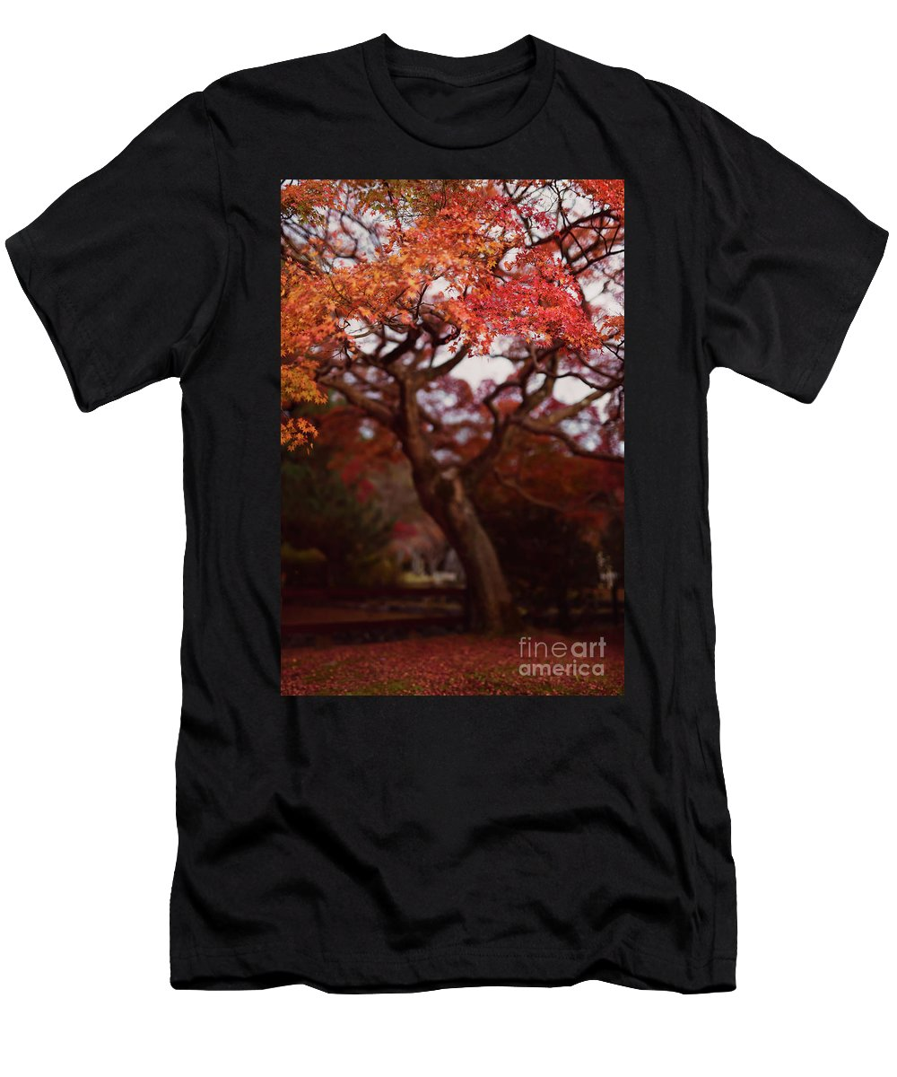 Japanese Men's T-Shirt (Athletic Fit) featuring the photograph Beautiful Red Japanese Maple Tree In A Garden by Awen Fine Art Prints