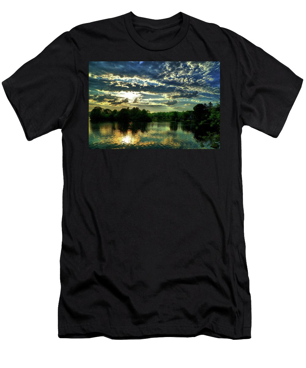 Sunset Men's T-Shirt (Athletic Fit) featuring the digital art Beautiful Scene Before Sunset by Lilia D