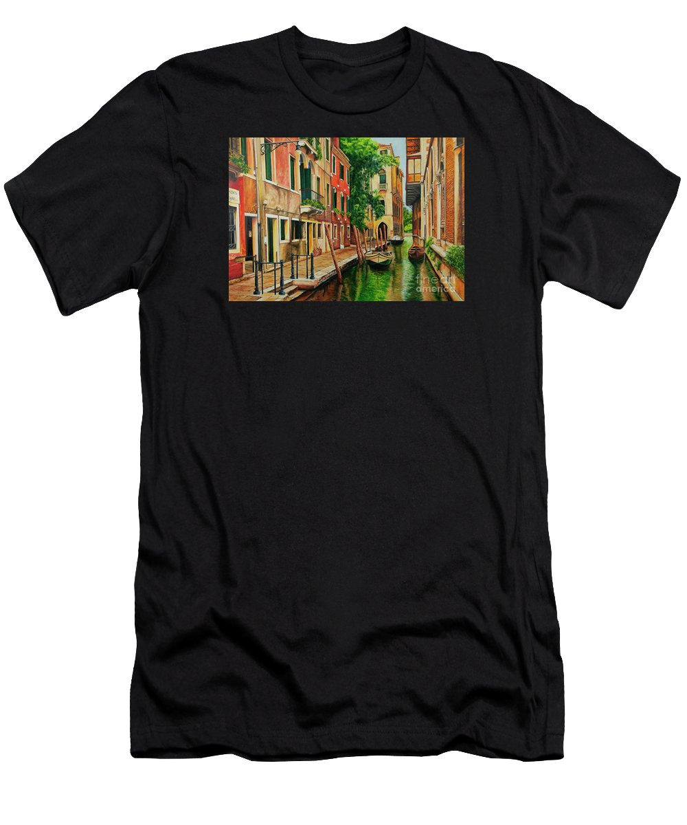 Venice Canal Men's T-Shirt (Athletic Fit) featuring the painting Beautiful Side Canal In Venice by Charlotte Blanchard