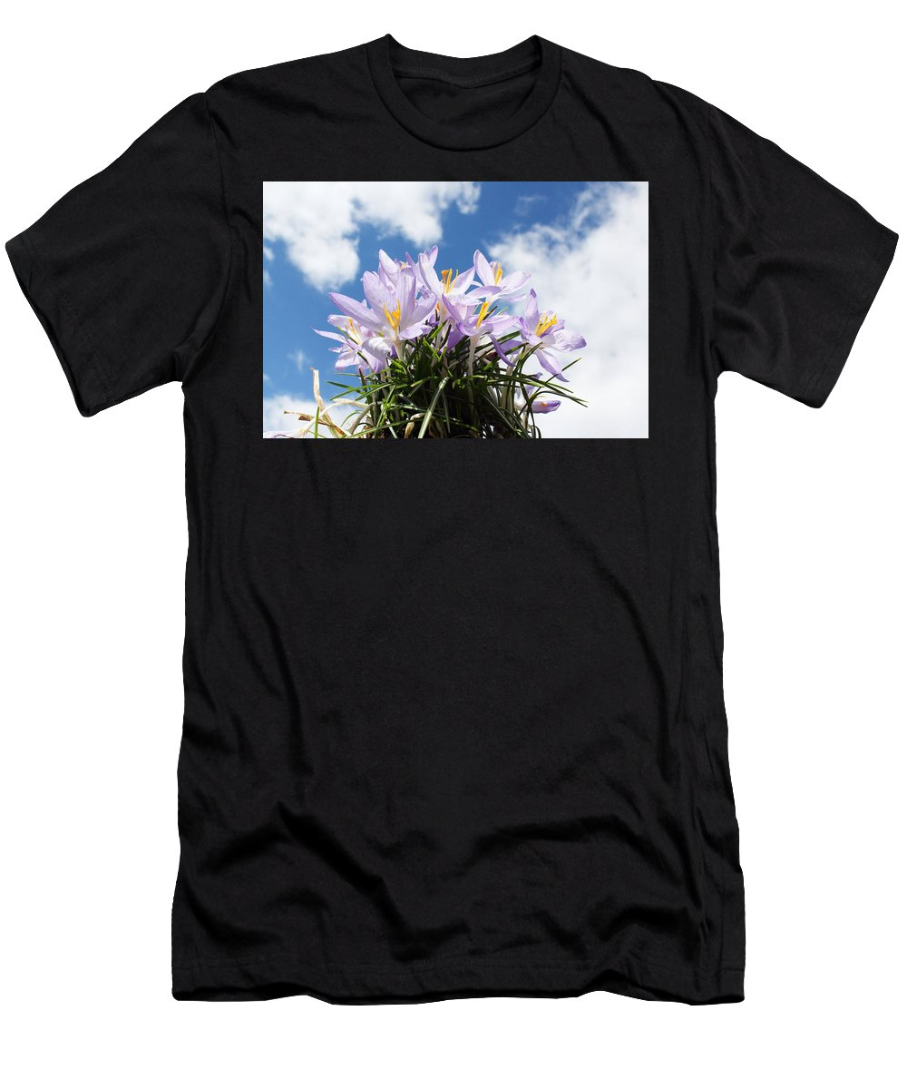 Petals Men's T-Shirt (Athletic Fit) featuring the photograph Beautiful Spring Flower Blossom In Sky Background by Govindji Patel