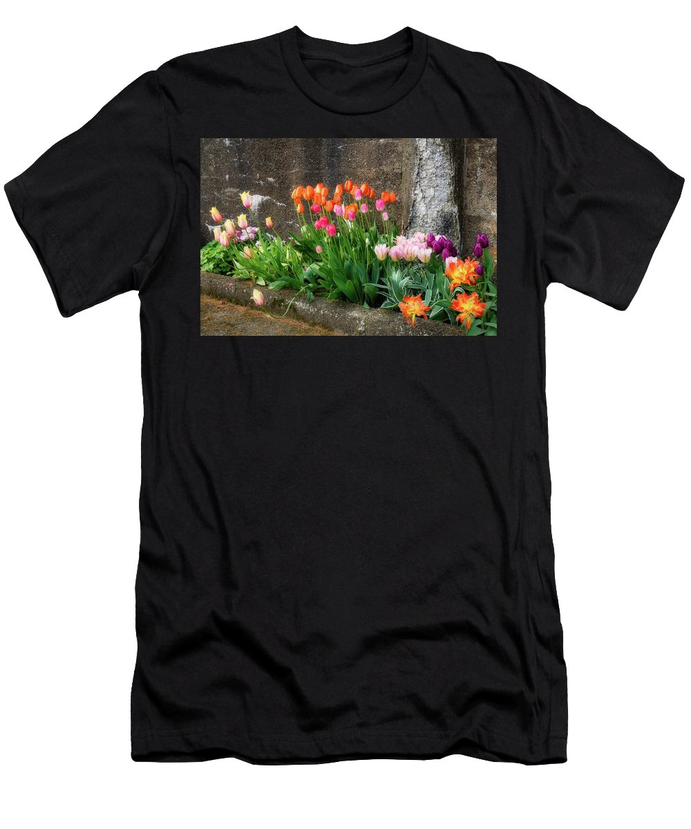 Flowers As Art Men's T-Shirt (Athletic Fit) featuring the photograph Beauty In Ruins by Michael Hubley
