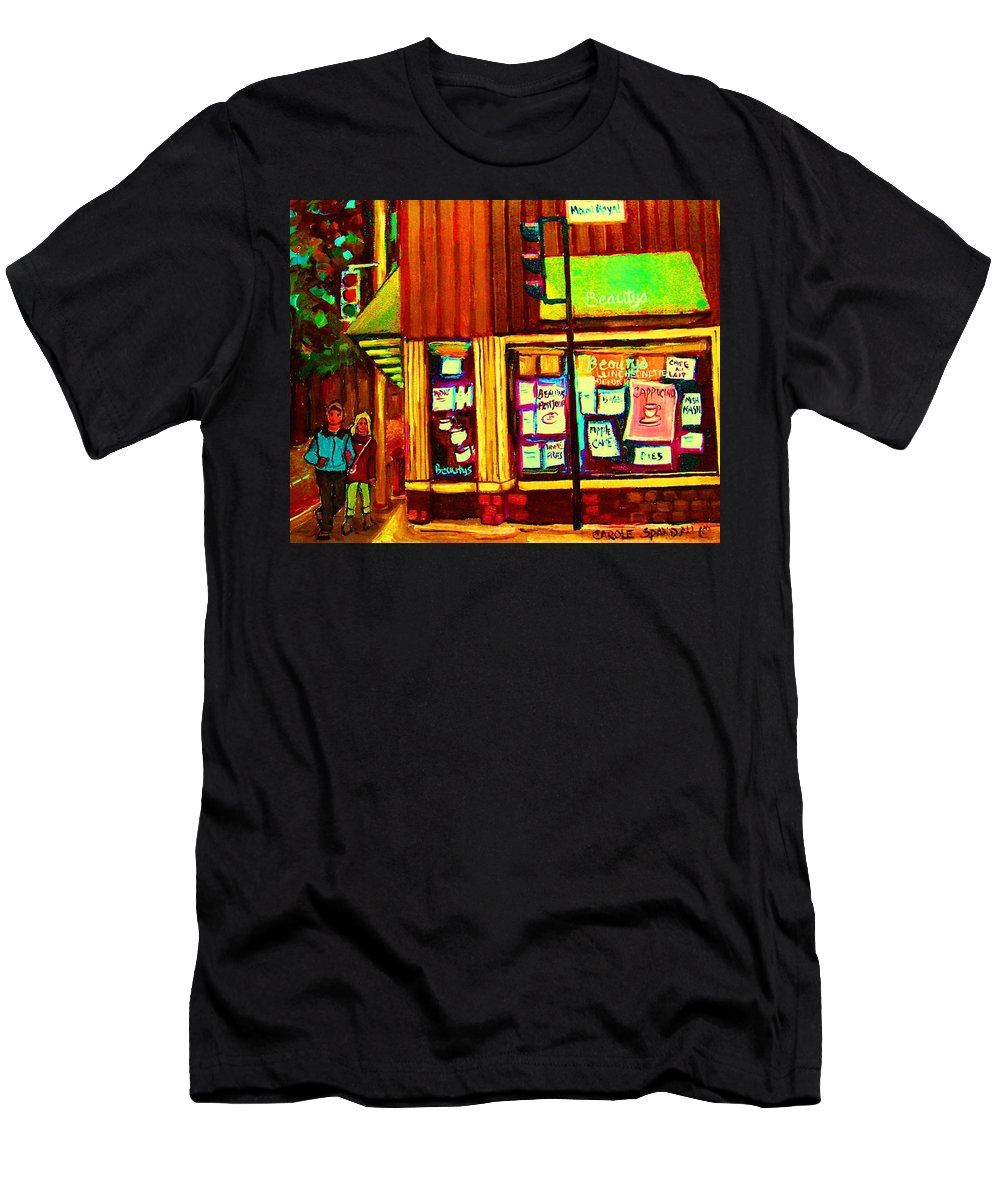 Beautys Restaurant Men's T-Shirt (Athletic Fit) featuring the painting Beautys Famous Mishmash by Carole Spandau