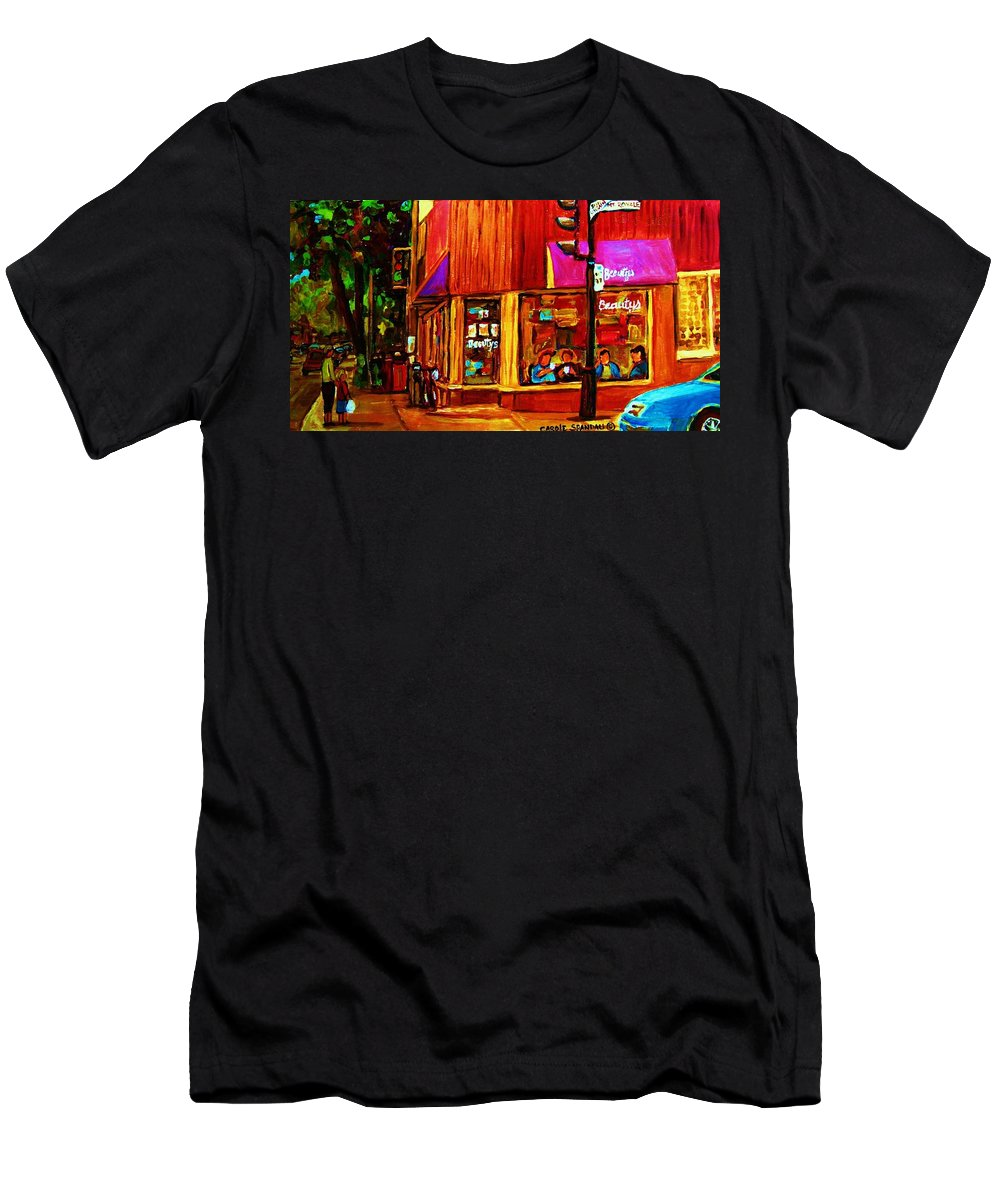Beautys Restaurant Montreal Men's T-Shirt (Athletic Fit) featuring the painting Beautys Luncheonette by Carole Spandau