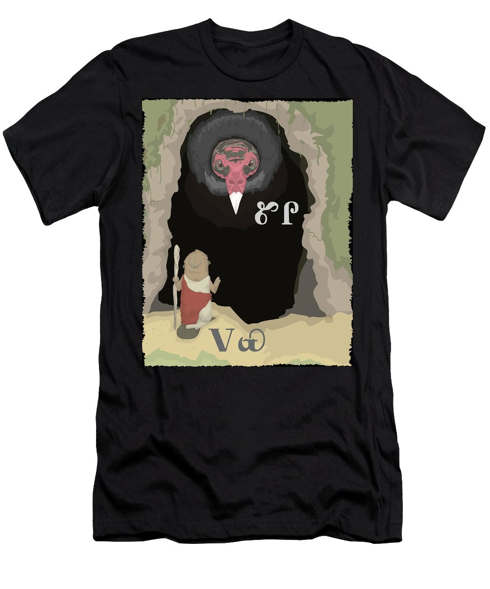 Beaver Men's T-Shirt (Athletic Fit) featuring the digital art Beaver Asks Vulture For Help by Alex Stephenson