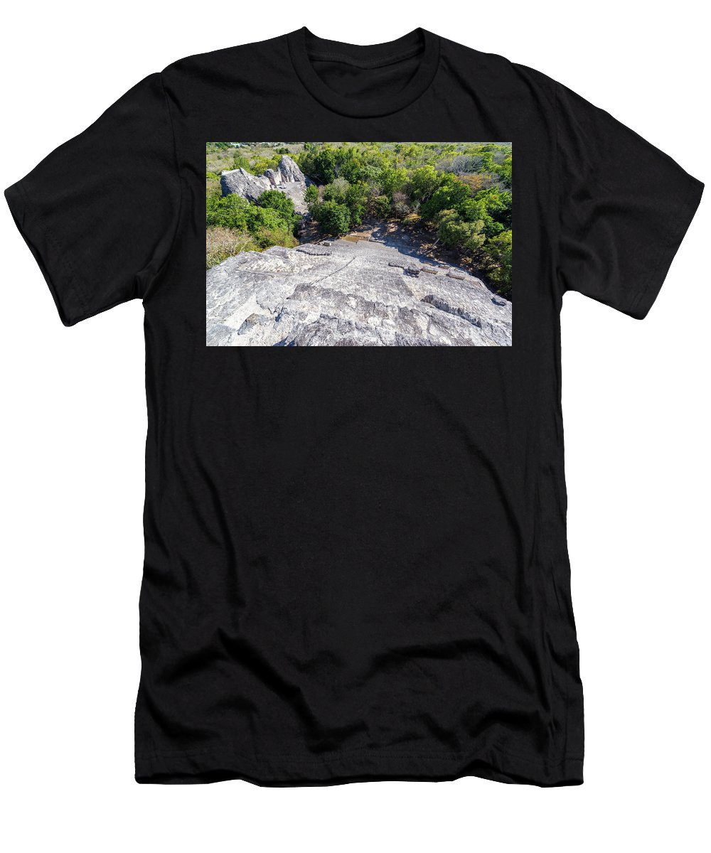 Becan Men's T-Shirt (Athletic Fit) featuring the photograph Becan Pyramids Looking Down by Jess Kraft