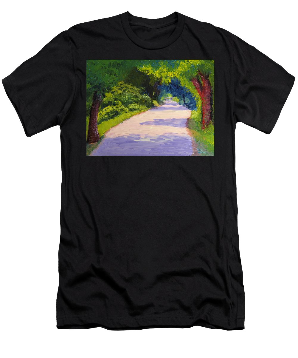 Path Men's T-Shirt (Athletic Fit) featuring the painting Beckoning Trail by Lea Novak