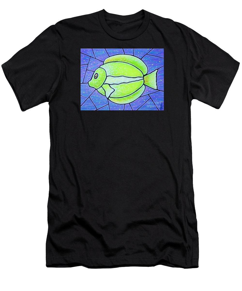 Tropical Fish Men's T-Shirt (Athletic Fit) featuring the painting Beckys Yellow Tropical Fish by Jim Harris