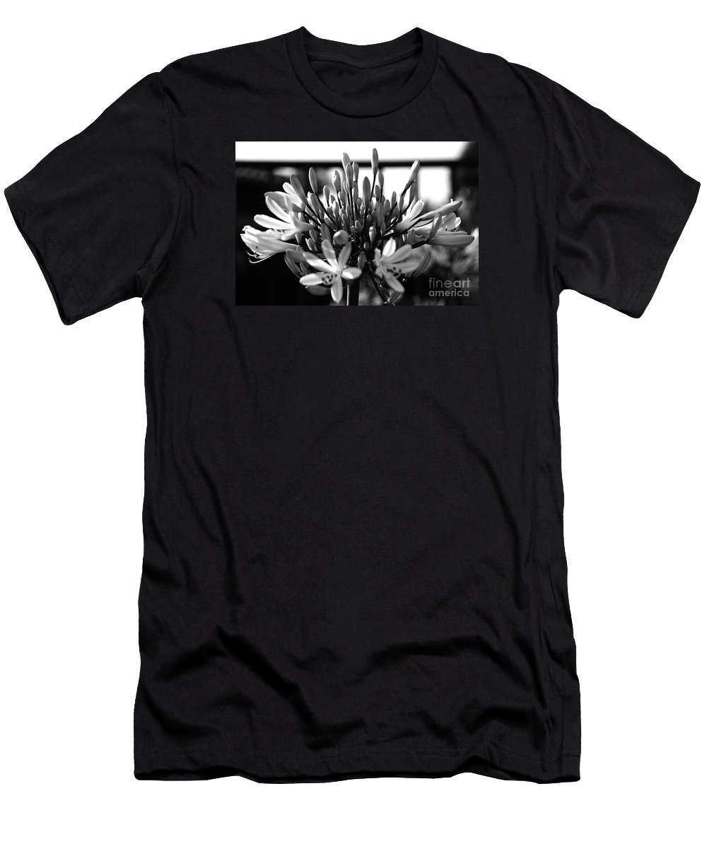 Floral Men's T-Shirt (Athletic Fit) featuring the photograph Becoming Beautiful - Bw by Linda Shafer