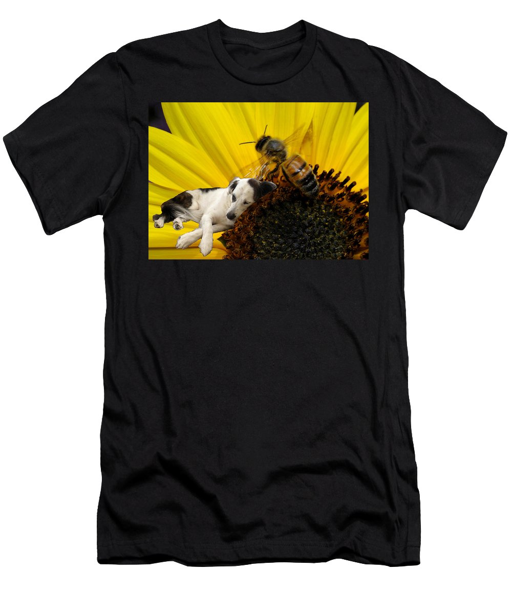 Dog Men's T-Shirt (Athletic Fit) featuring the digital art Bee With Dog by Roger Medbery