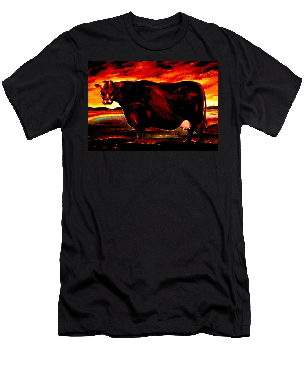 Farm Animal Men's T-Shirt (Athletic Fit) featuring the painting Beef Holocaust IIi by Mark Cawood