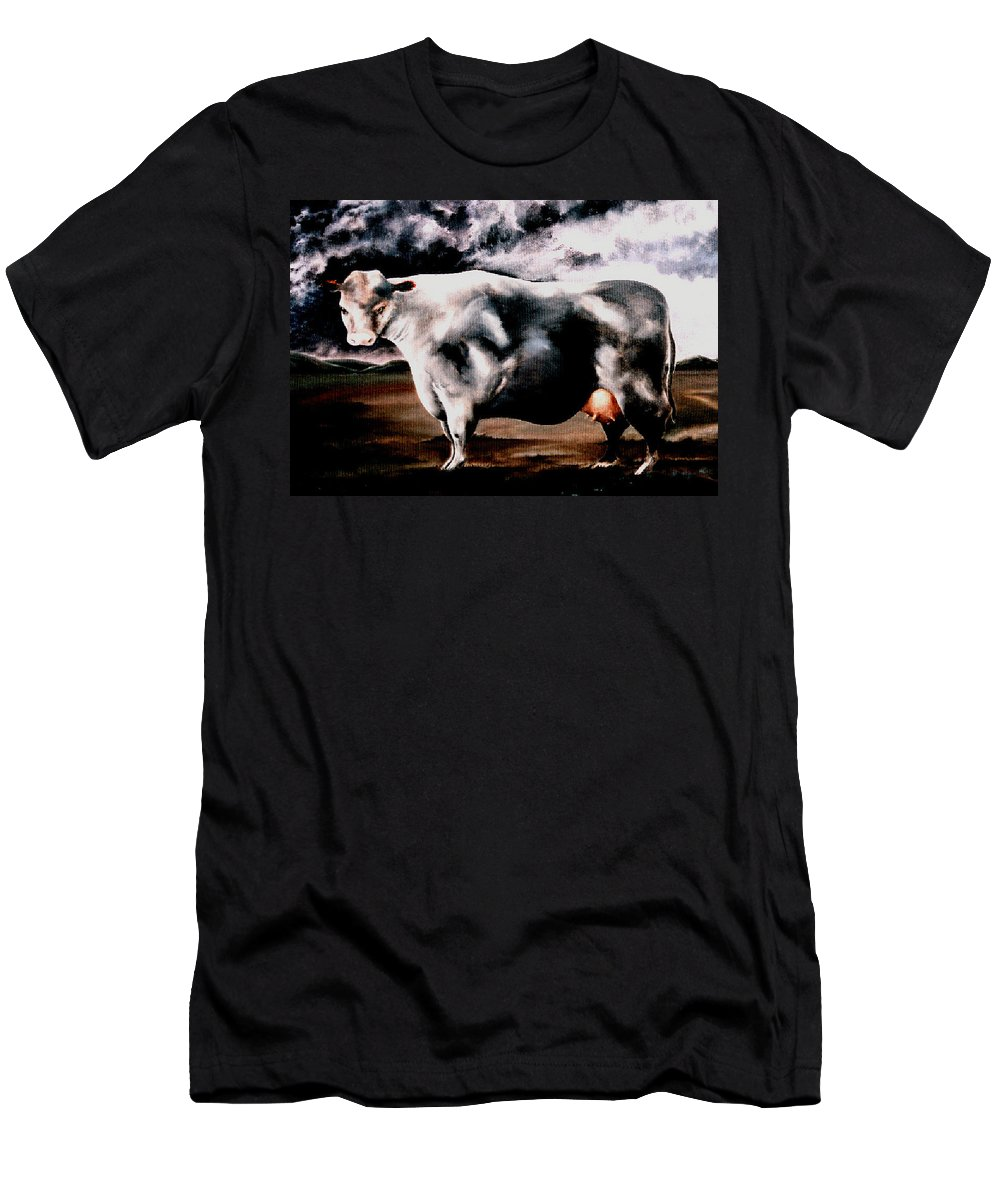 Cow Men's T-Shirt (Athletic Fit) featuring the painting Beef Holocaust Iv by Mark Cawood