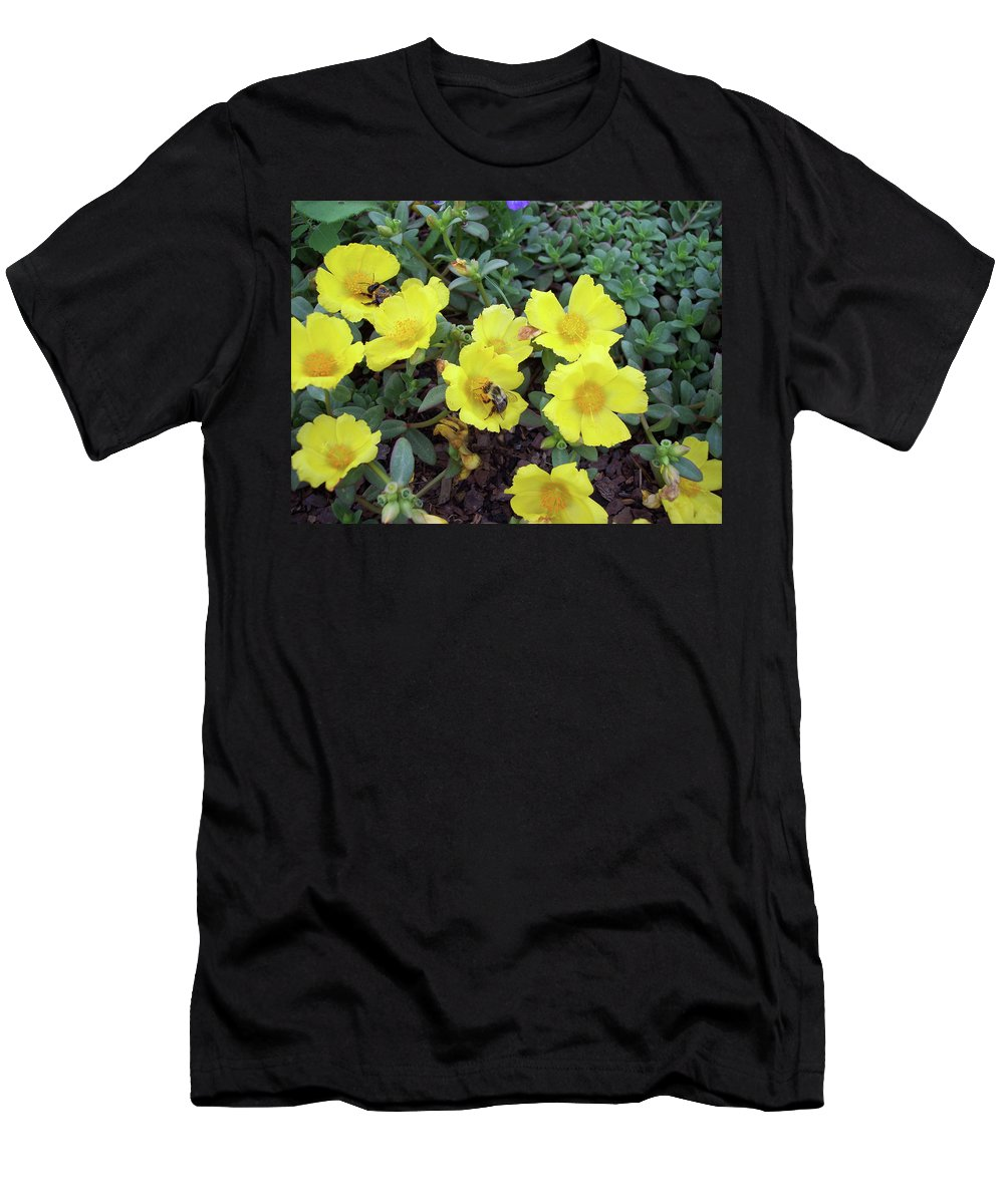 Yellow Men's T-Shirt (Athletic Fit) featuring the photograph Bees If You Please by Cathy Klopfenstein