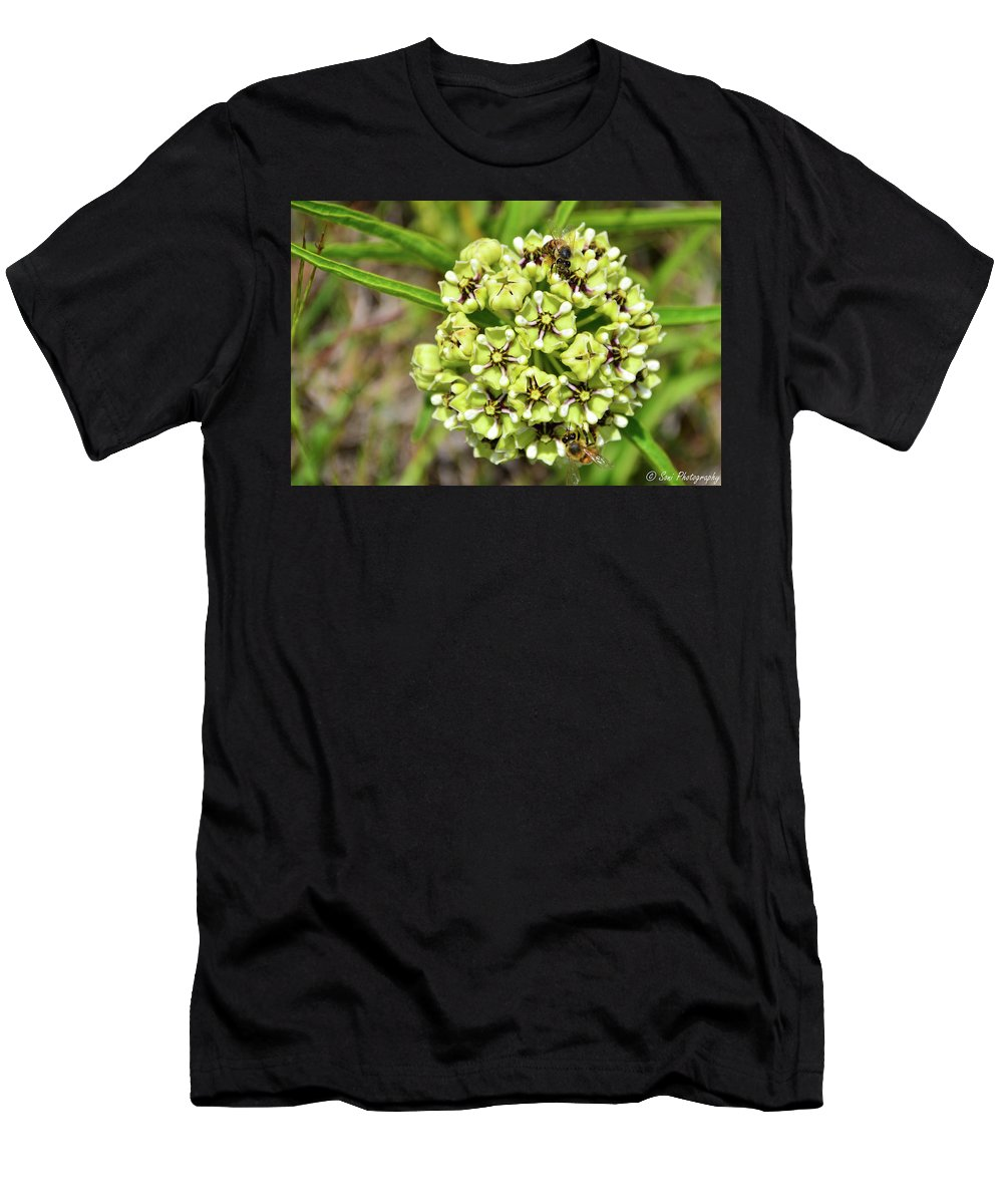 Bees Men's T-Shirt (Athletic Fit) featuring the photograph Bees Pollinating by Soni Macy