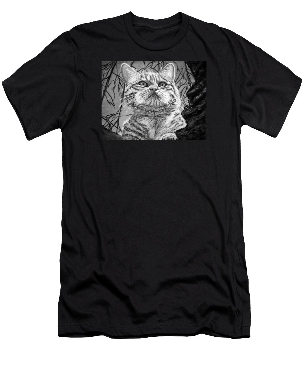 Amazing Print Men's T-Shirt (Athletic Fit) featuring the digital art Before The Jump Black And White by Katreen Queen