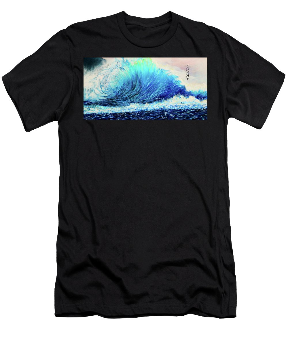 Wave Painting Men's T-Shirt (Athletic Fit) featuring the painting Behemoth Wave by SaxonLynn Arts