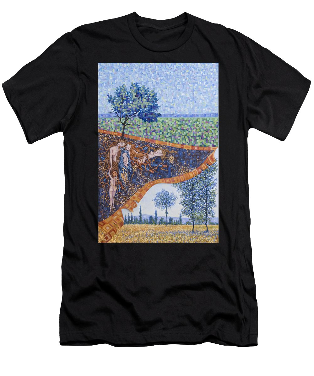 Canvas Men's T-Shirt (Athletic Fit) featuring the painting Behind The Canvas by Judy Henninger