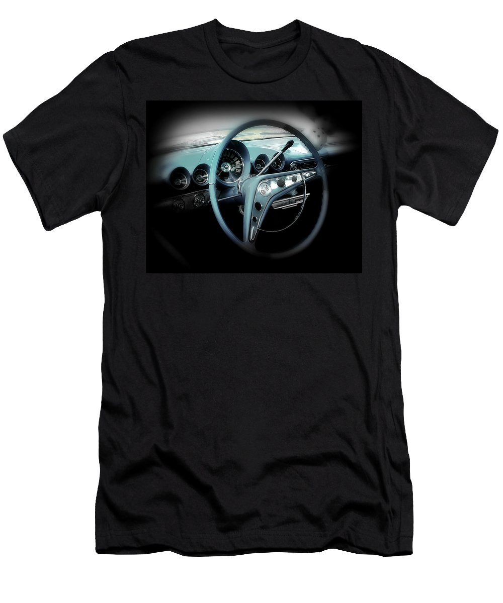 Car Men's T-Shirt (Athletic Fit) featuring the photograph Behind The Wheel by Perry Webster