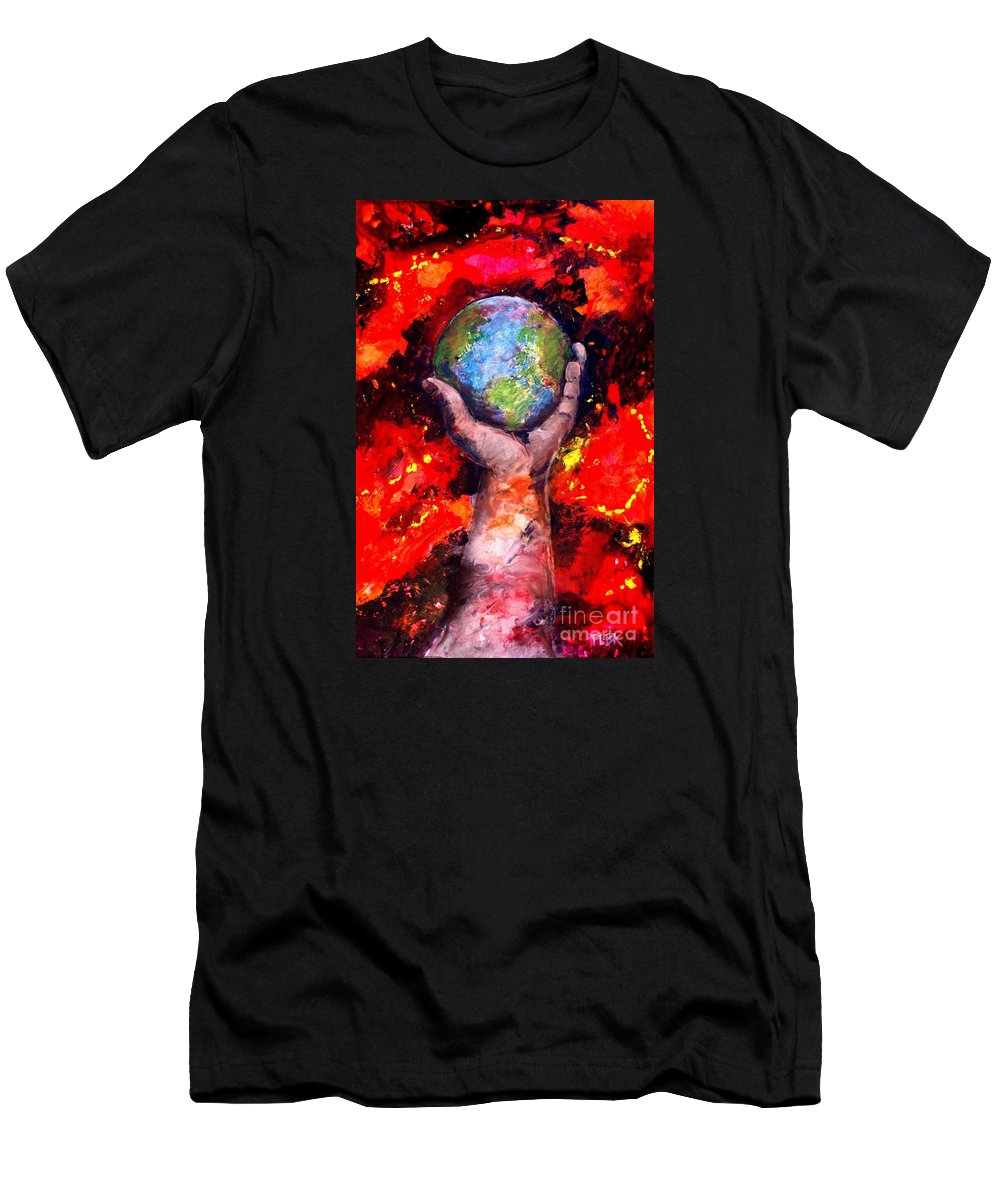 World Men's T-Shirt (Athletic Fit) featuring the painting Behold by Patty Kingsley