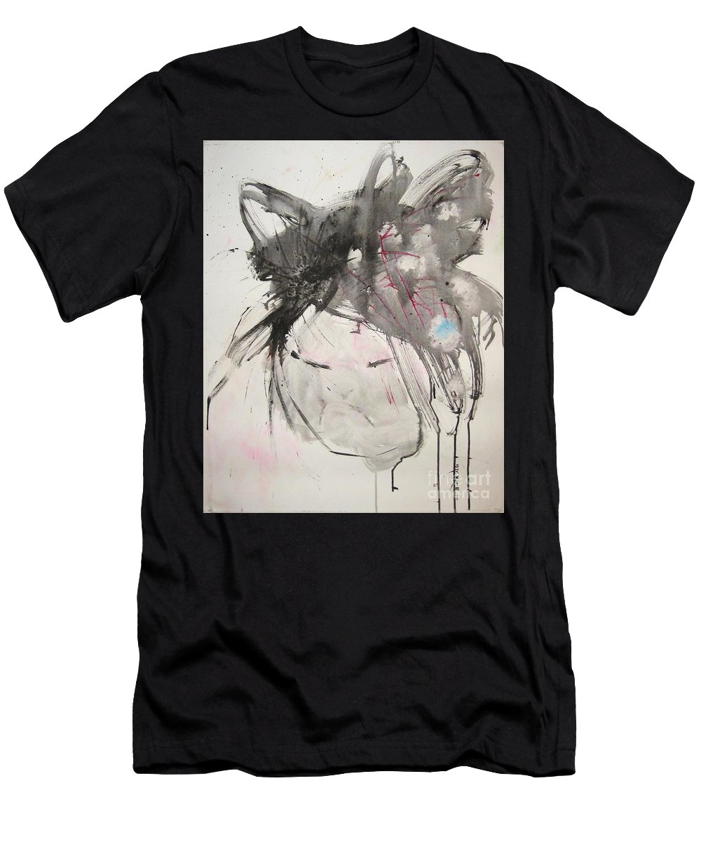 Black And White Paintings Men's T-Shirt (Athletic Fit) featuring the painting Being Patient by Seon-Jeong Kim