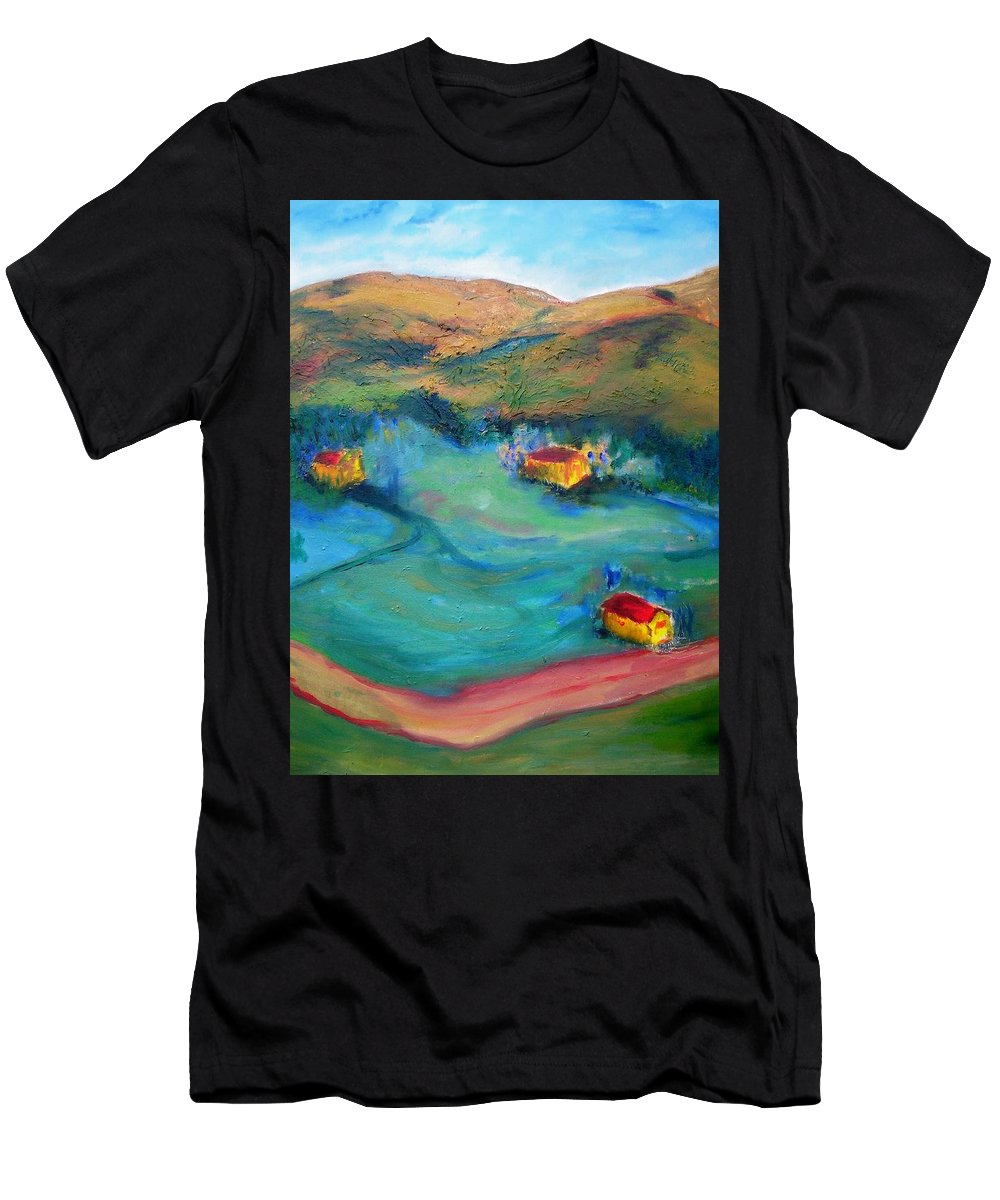Landscape Men's T-Shirt (Athletic Fit) featuring the painting Beit Shemesh by Suzanne Udell Levinger