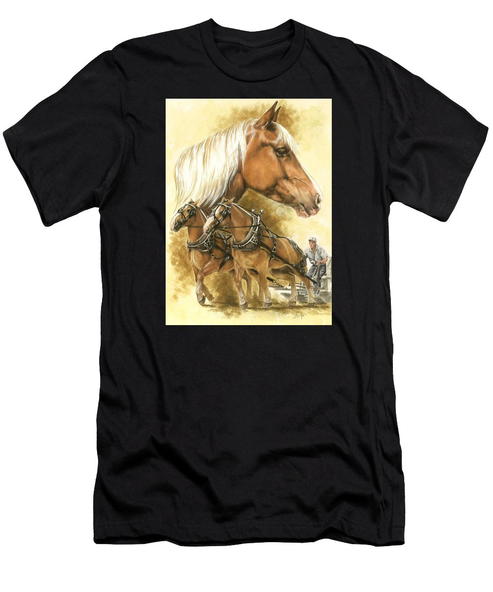 Equus Men's T-Shirt (Athletic Fit) featuring the mixed media Belgian by Barbara Keith