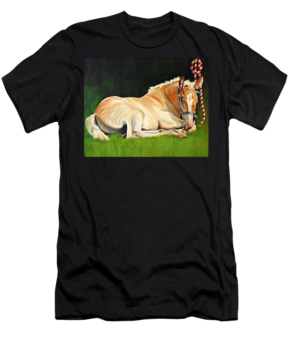 Belgian Men's T-Shirt (Athletic Fit) featuring the painting Belgian Horse Foal by Toni Grote