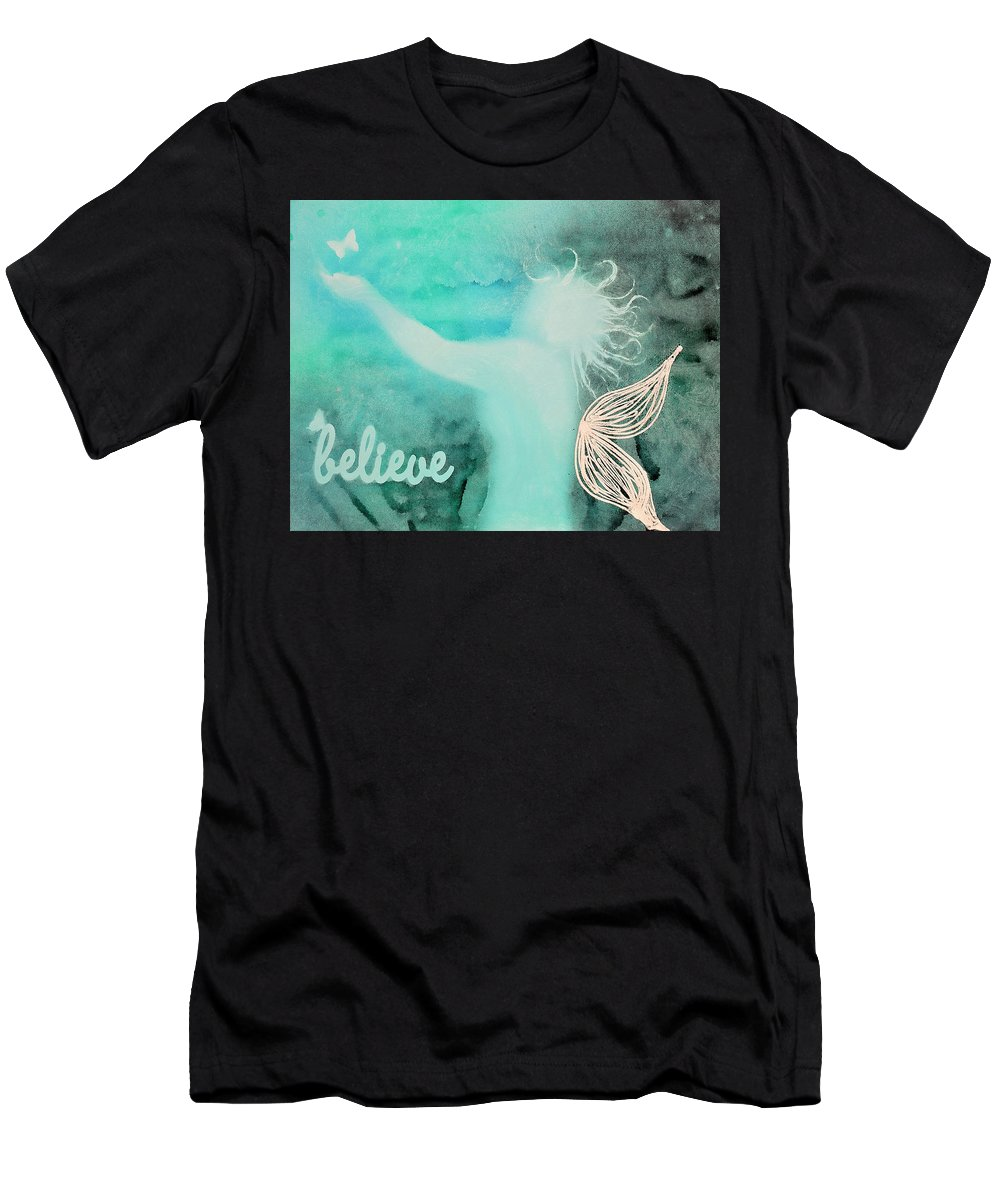 Body Prints Painting Men's T-Shirt (Athletic Fit) featuring the painting Believe In Fairies by April Kasper