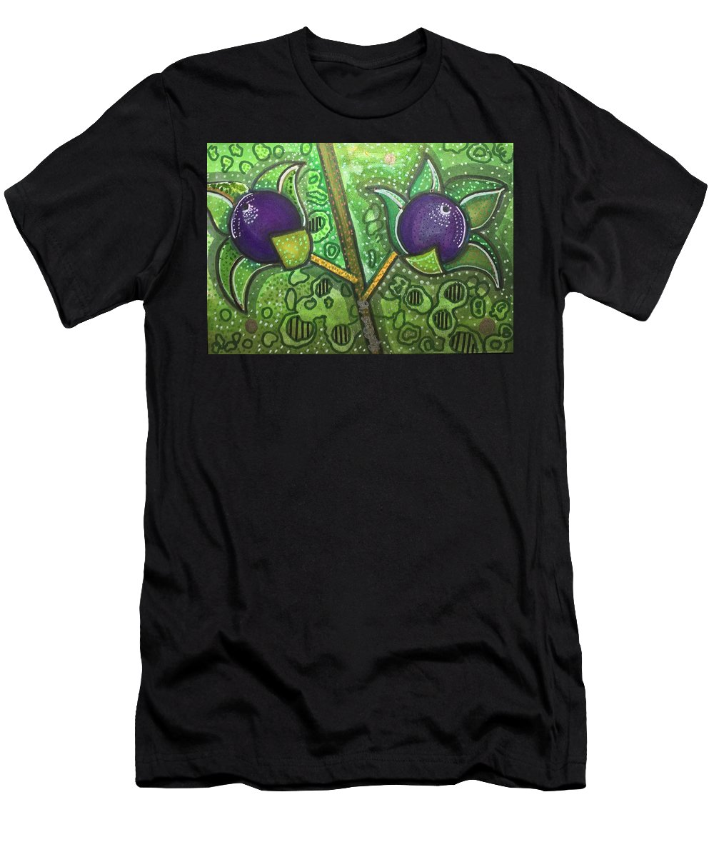 Deadly Nightshade Men's T-Shirt (Athletic Fit) featuring the mixed media Bella Donna by Regina Jeffers