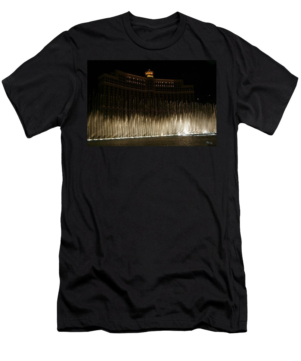 Bellagio Fountains Las Vegas Nevada Show Water Hotel Men's T-Shirt (Athletic Fit) featuring the photograph Bellagio Fountains by Andrea Lawrence
