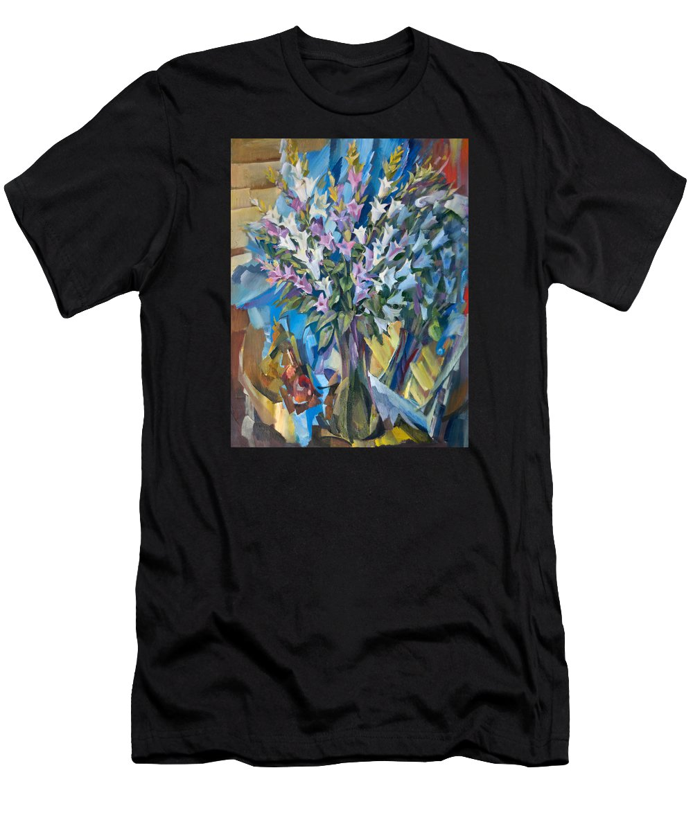Glass Men's T-Shirt (Athletic Fit) featuring the painting Bellflowers by Nikolay Malafeev