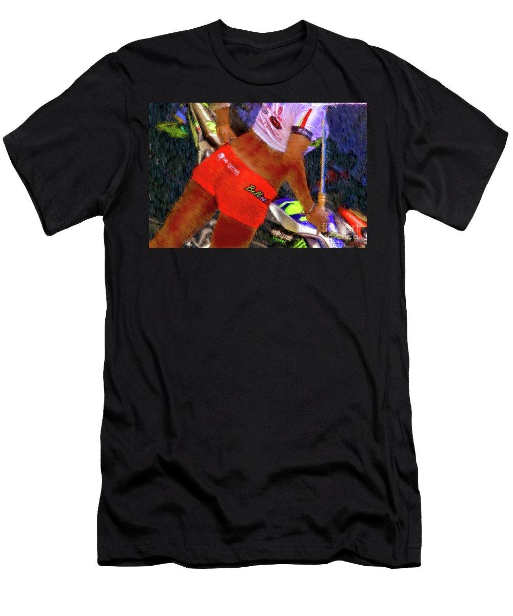 Bellissimoto Umbrella Girl Men's T-Shirt (Athletic Fit) featuring the photograph Bellissimoto Umbrella Girl by Blake Richards
