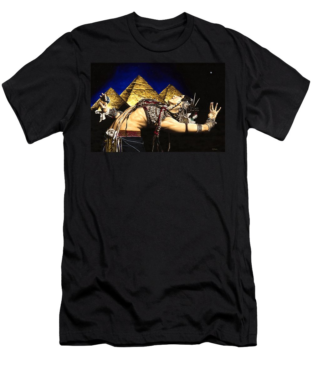 Bellydance Men's T-Shirt (Athletic Fit) featuring the painting Bellydance Of The Pyramids - Rachel Brice by Richard Young
