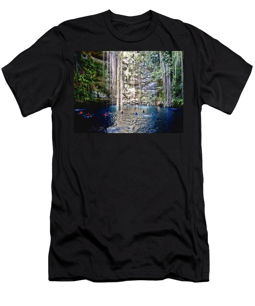 Limestone Cave Men's T-Shirt (Athletic Fit) featuring the photograph Below The Surface by Douglas Barnard