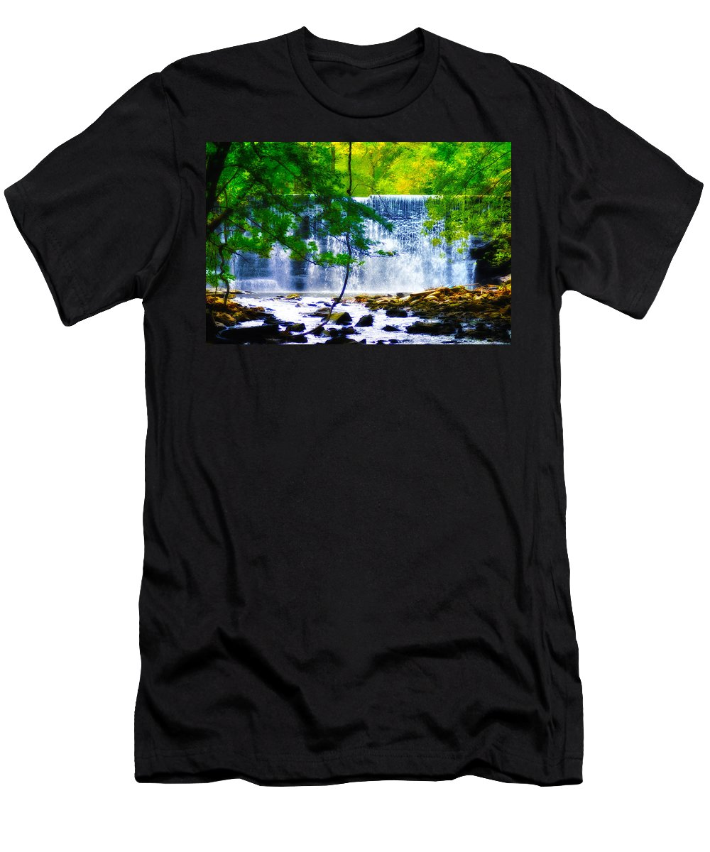 Waterfall Men's T-Shirt (Athletic Fit) featuring the photograph Below The Waterfall by Bill Cannon