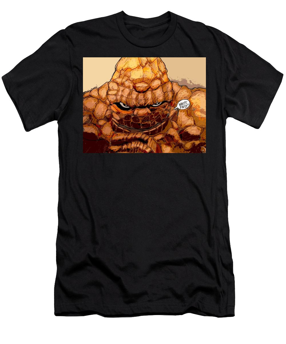 Superhero Art Men's T-Shirt (Athletic Fit) featuring the painting Ben Grimm by Jazzboy