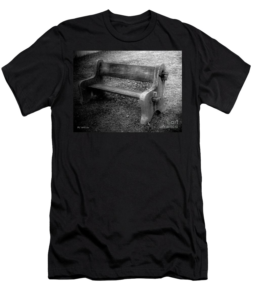 Barn Men's T-Shirt (Athletic Fit) featuring the photograph Bench By The Barn by RC DeWinter