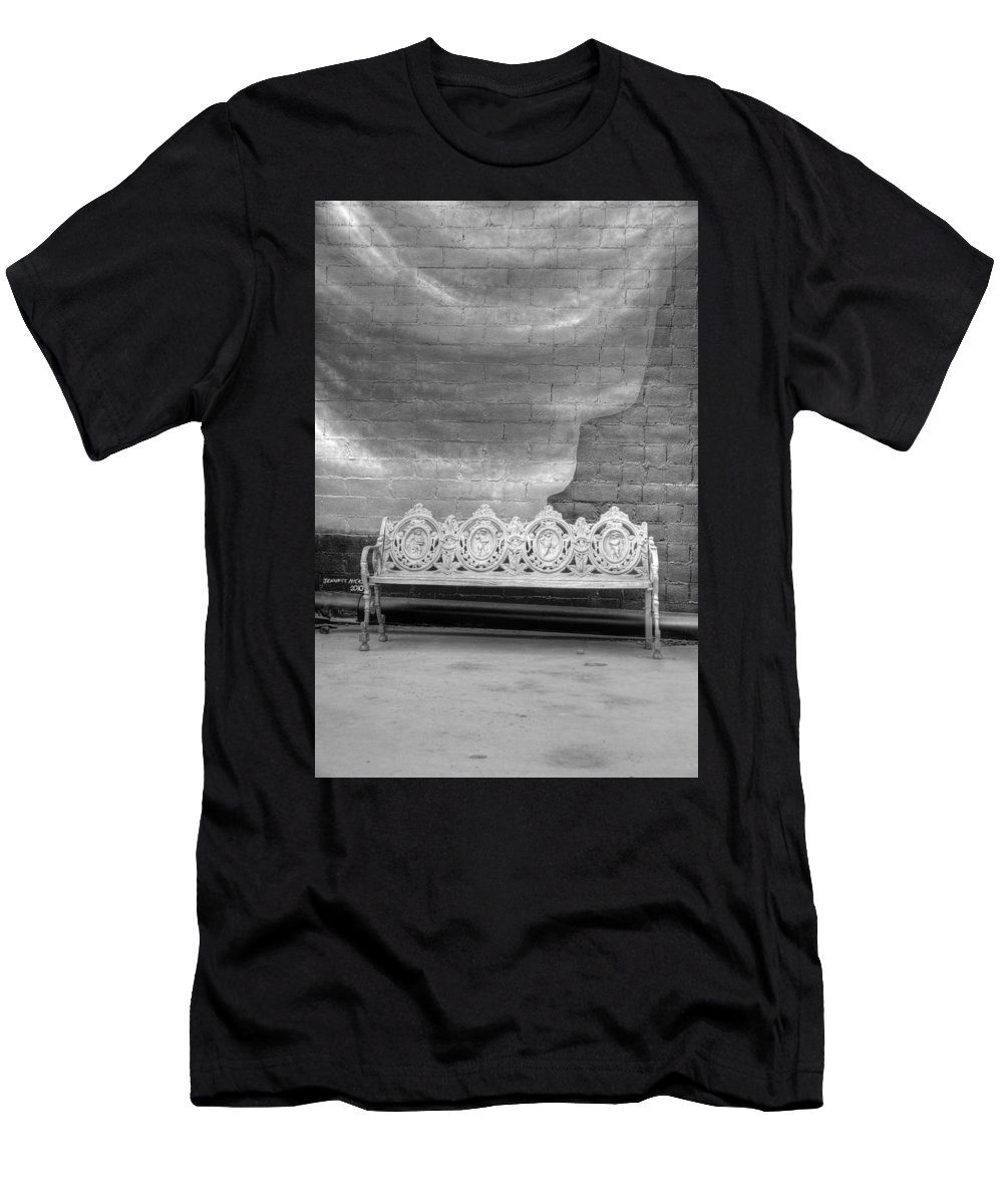Black & White Film Men's T-Shirt (Athletic Fit) featuring the photograph Bench by Dennis House