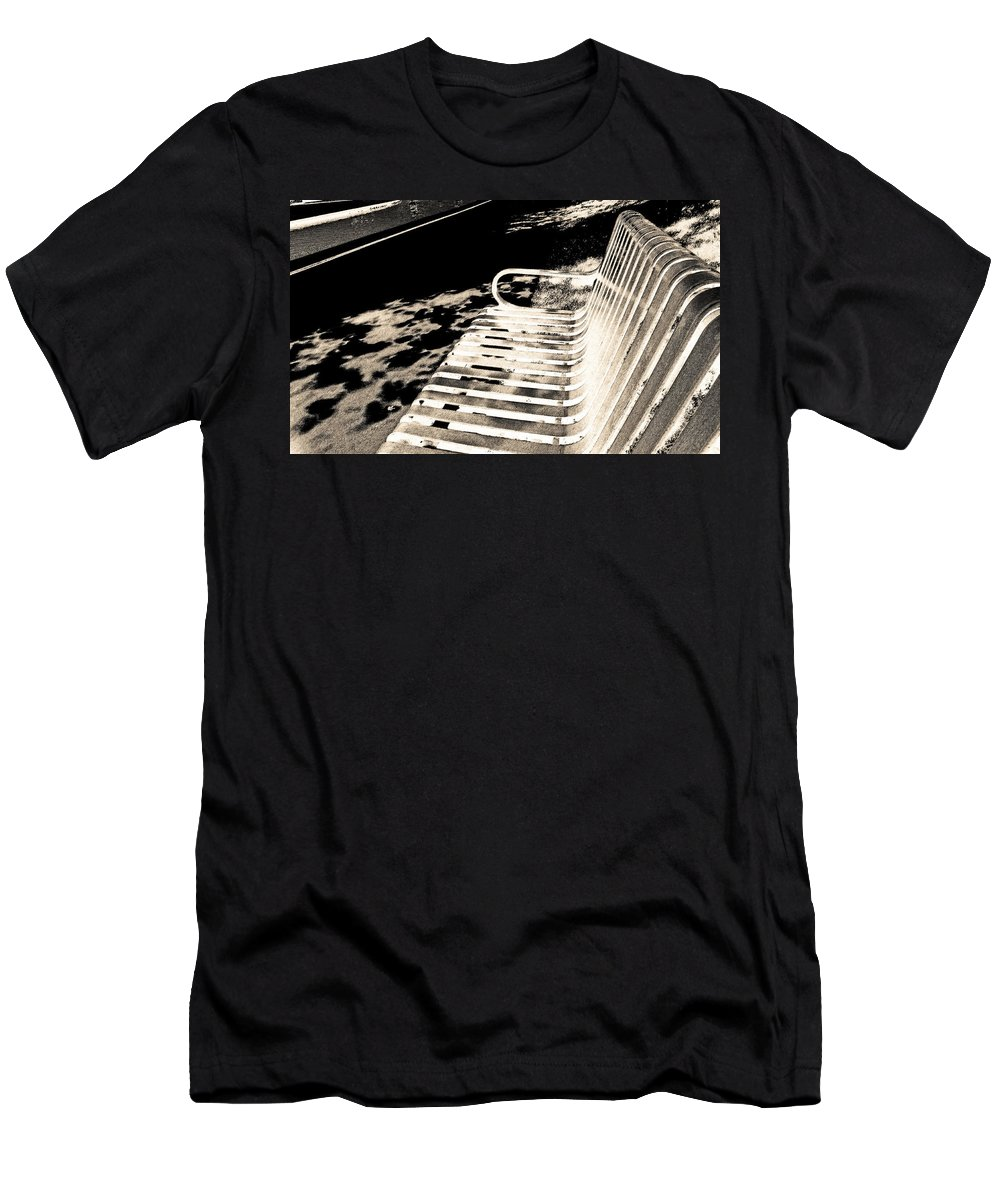Abstract Men's T-Shirt (Athletic Fit) featuring the photograph Bench Panorama In Sepia by Lenore Senior