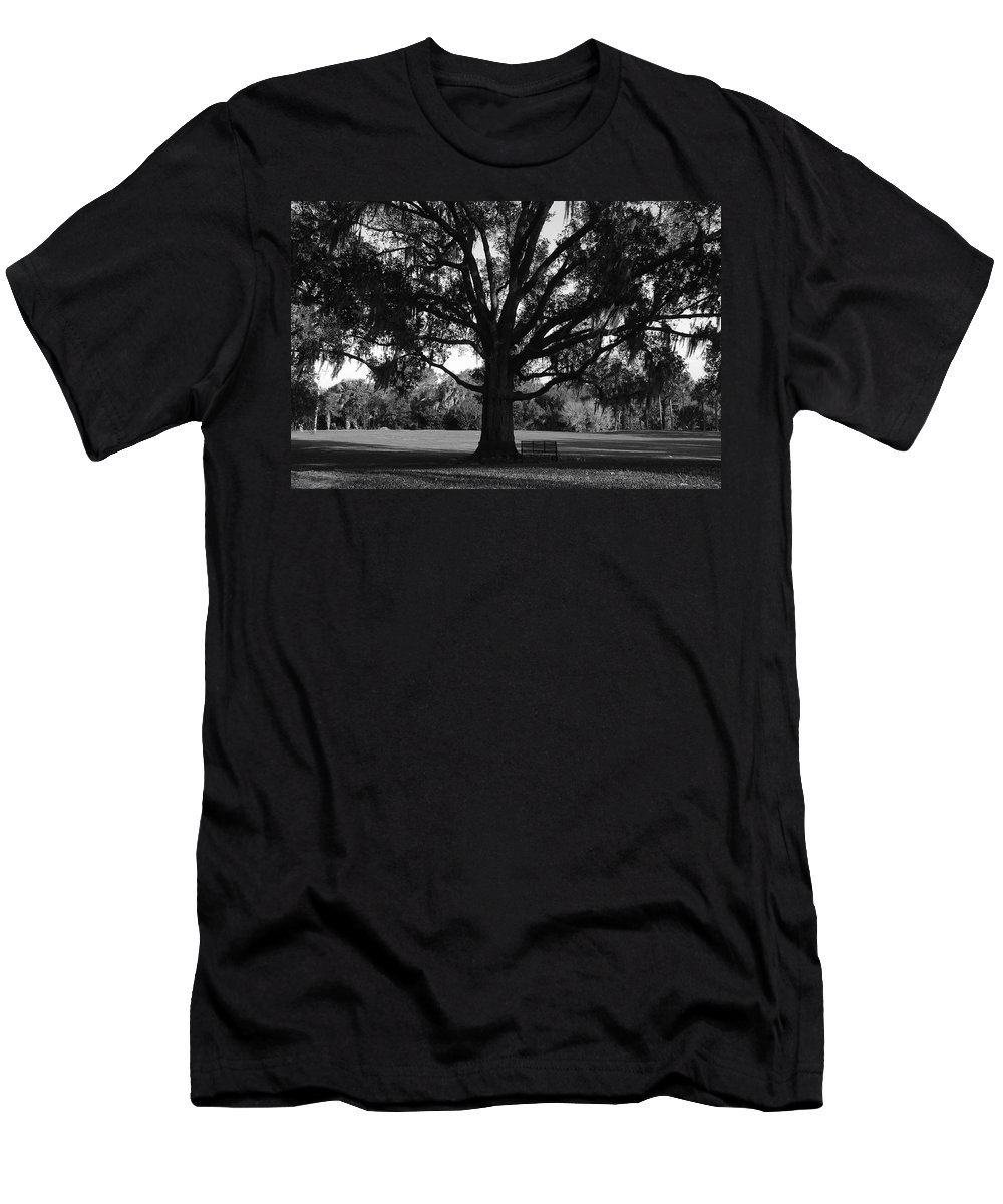 Park Bench Men's T-Shirt (Athletic Fit) featuring the photograph Bench Under Oak by David Lee Thompson