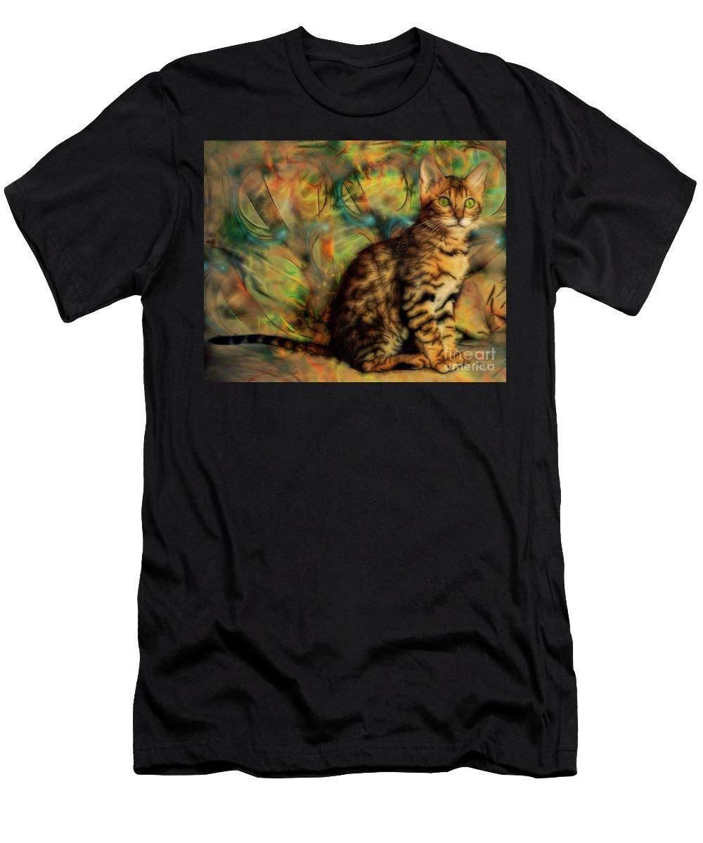 Bengal Kitten Men's T-Shirt (Athletic Fit) featuring the digital art Bengal Kitten by John Beck