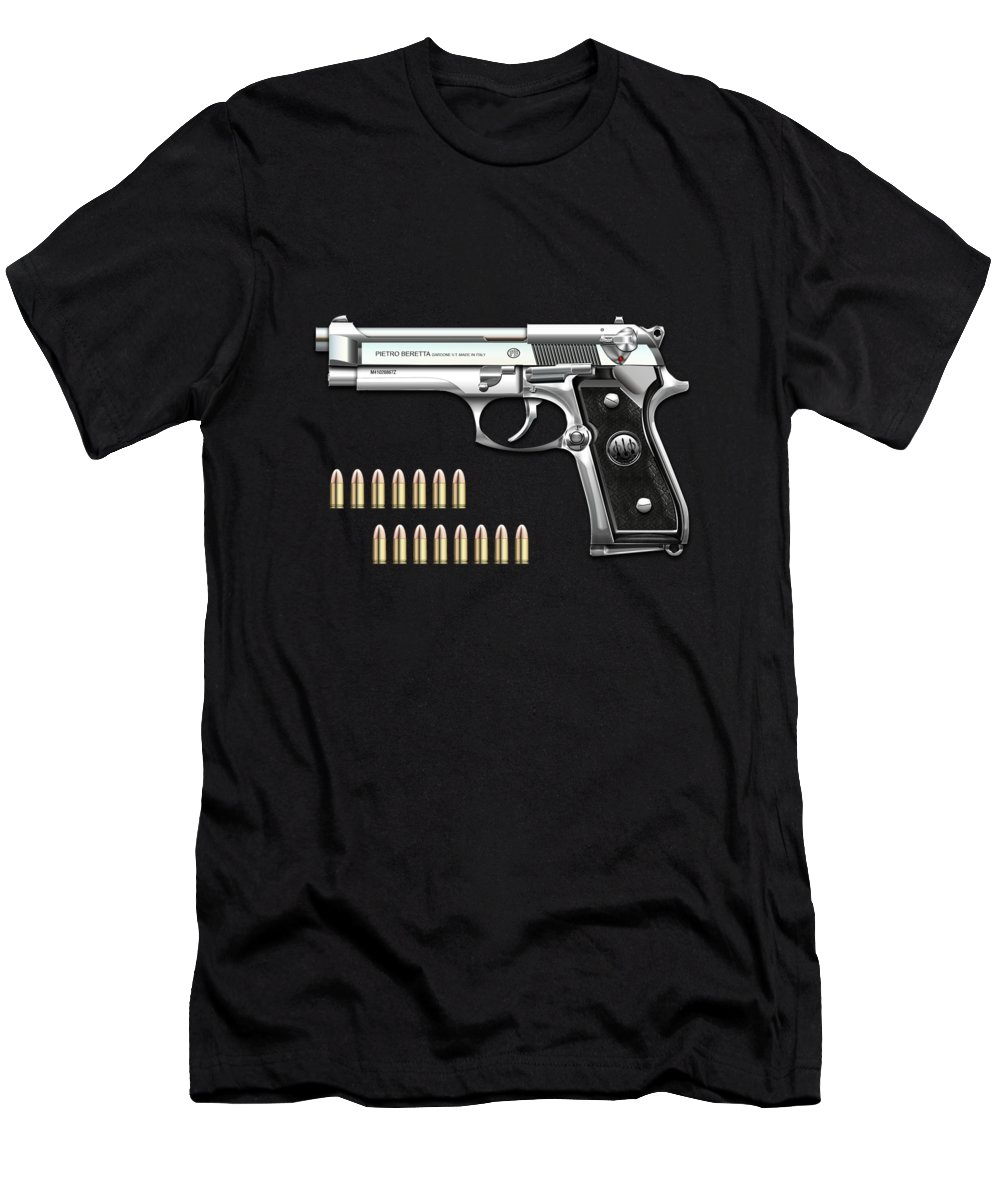 'the Armory' Collection By Serge Averbukh Men's T-Shirt (Athletic Fit) featuring the digital art Beretta 92fs Inox With Ammo On Red Velvet by Serge Averbukh