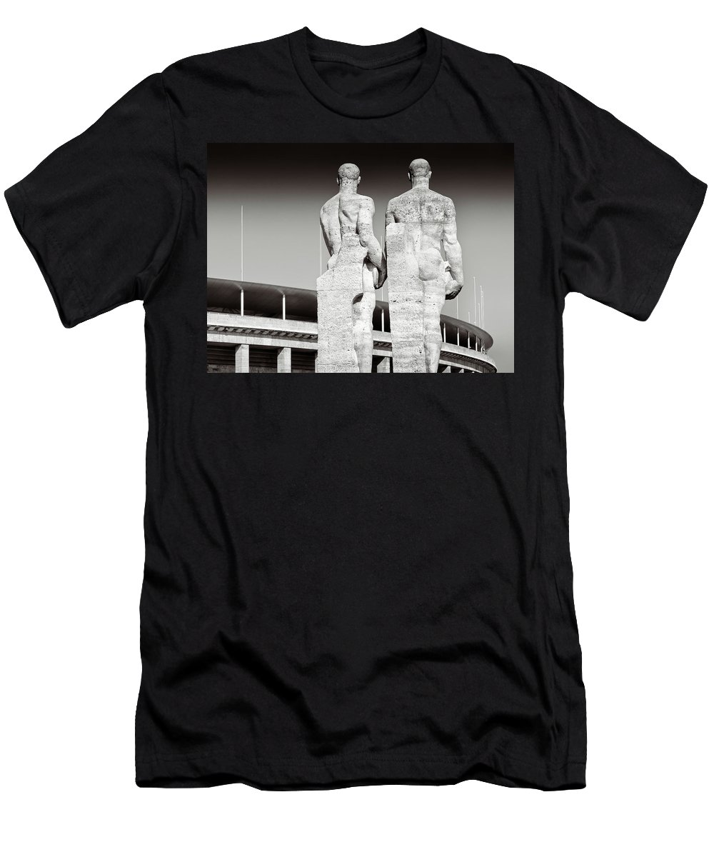 Berlin Men's T-Shirt (Athletic Fit) featuring the photograph Berlin Olympiastadion - Berlin Olympic Stadium by Alexander Voss