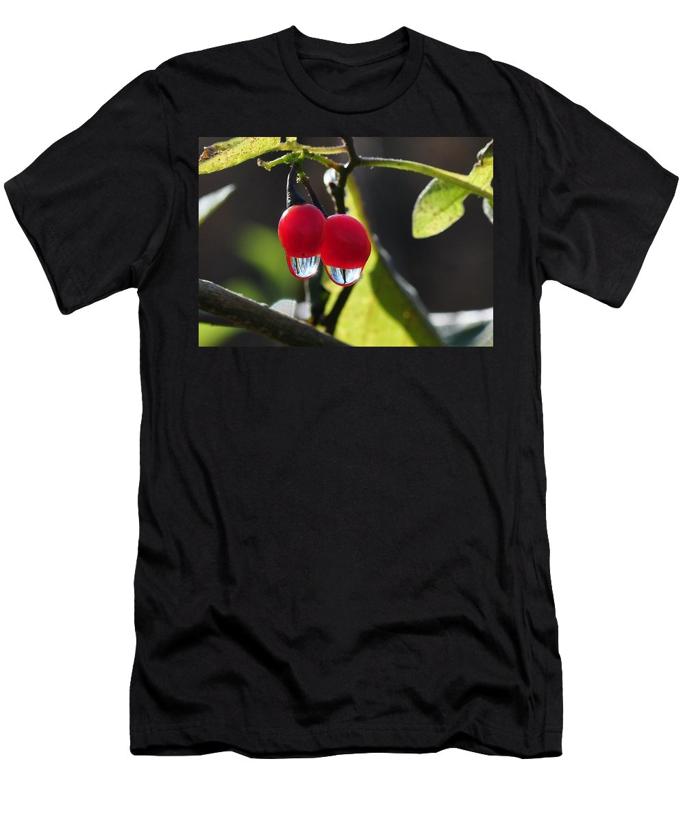 Red Berry Men's T-Shirt (Athletic Fit) featuring the photograph Berry Droplets by Barbara Treaster
