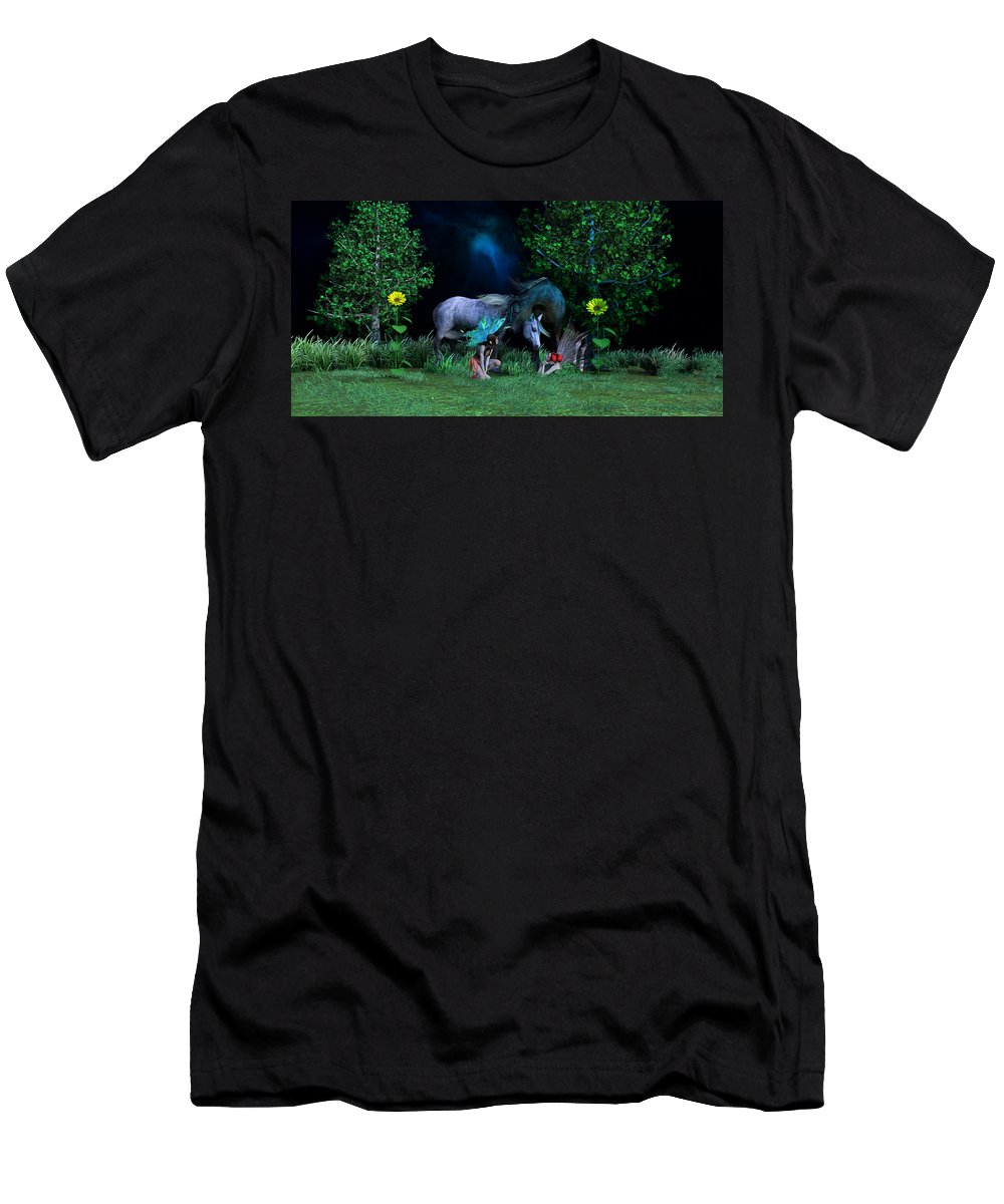 Horse Men's T-Shirt (Athletic Fit) featuring the digital art Best Friends by Betsy Knapp