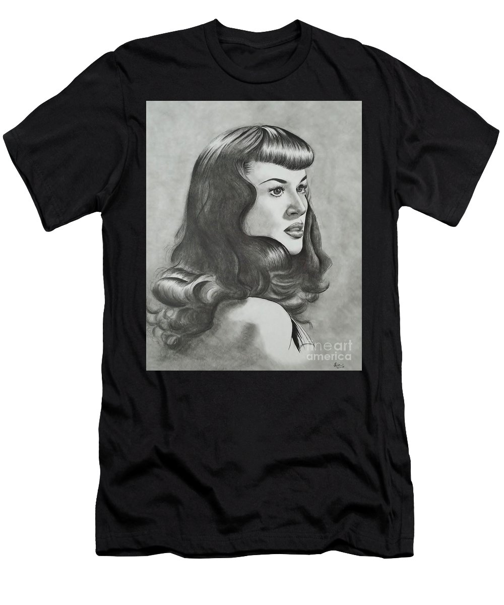 The Notorious Betty Page Men's T-Shirt (Athletic Fit) featuring the drawing Betty Page by Lise PICHE